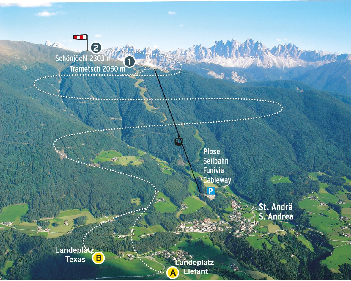 Paragliding on Mount Plose/Isarco Valley: launch sites on the mountain